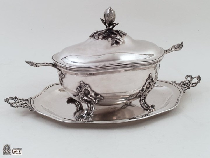 Medium Sized Silver German Tureen with Tray, Gilt Inside