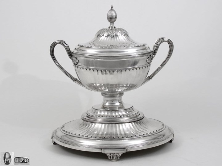 Monumental Silver Soup Tureen on Stand with Covered Liner