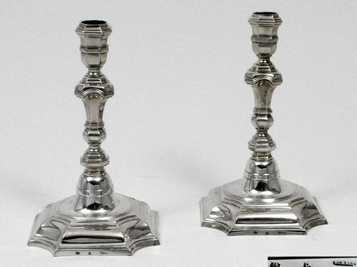 Pair of Fine German Silver Candlesticks