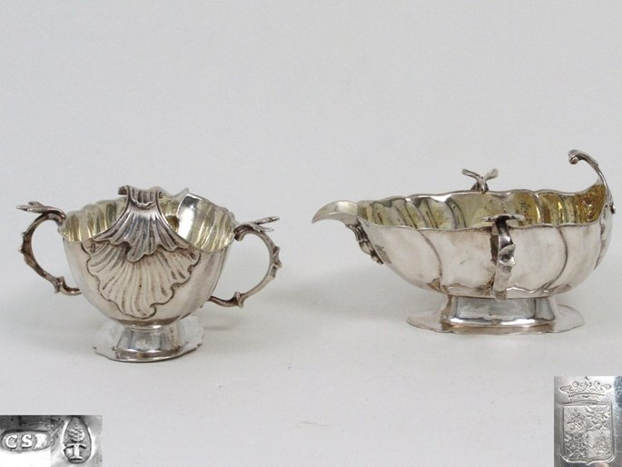 Carl Samuel Bettkober - Pair of German Silver Sauce Boats, Gilt Inside | MasterArt