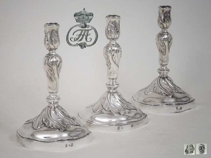Set of Three Silver Candlesticks from the Royal Silver Collection of Dresden, House of Wettin
