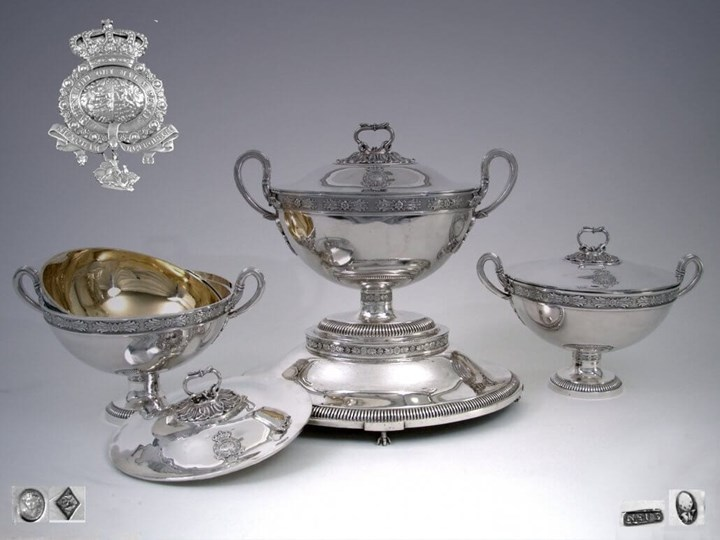 Silver Ensemble: Two French Tureens and a German Tureen with Stand