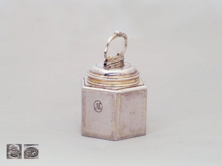 Silver-Gilt Hexagonal, German Canister