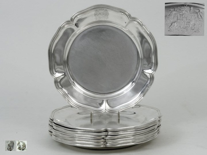 Twelve Silver Plates from the House of Thurn and Taxis
