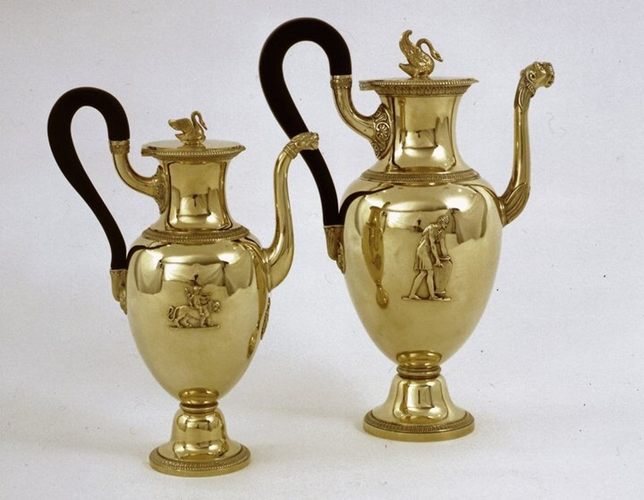 Two French Silver Gilt Empire Coffee-Pots