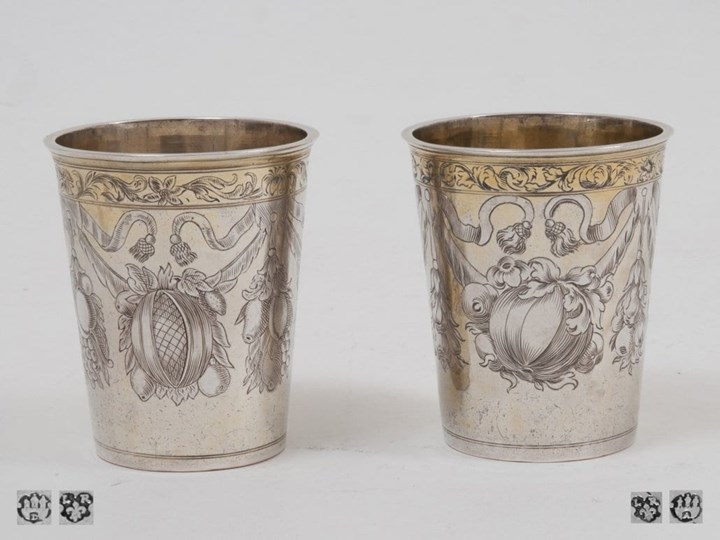 Two Silver-Gilt Fine German Baroque Beakers