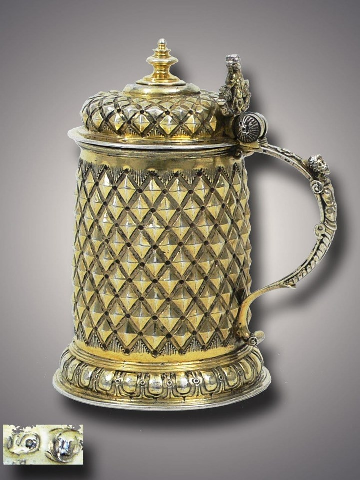 Very Fine German Silver Gilt Diamond-Cut Tankard