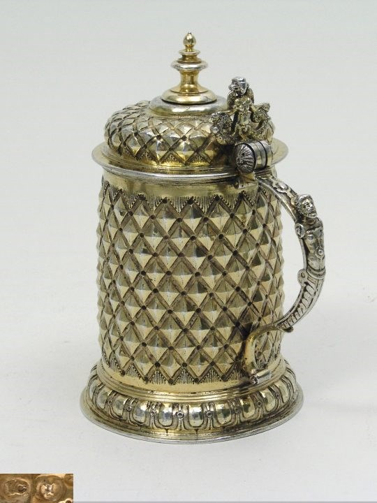 Lorenz Ott - Very Fine German Silver Gilt Diamond-Cut Tankard | MasterArt