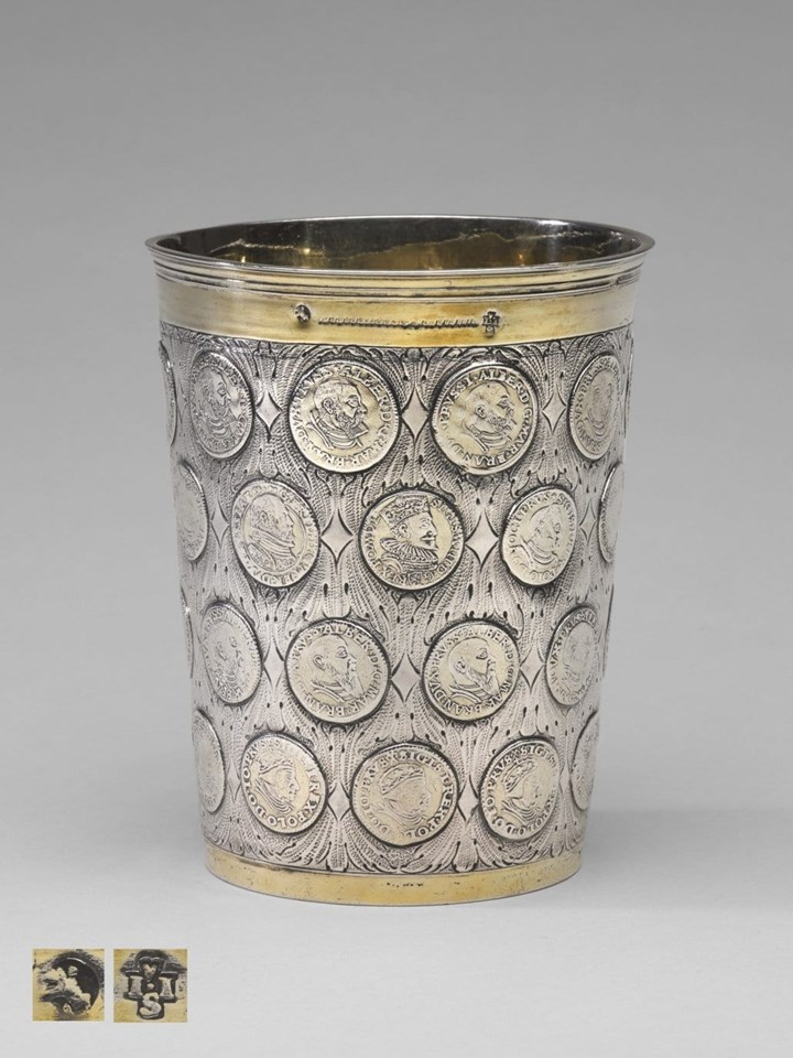 Very Fine Silver Parcel Gilt German Coin Beaker