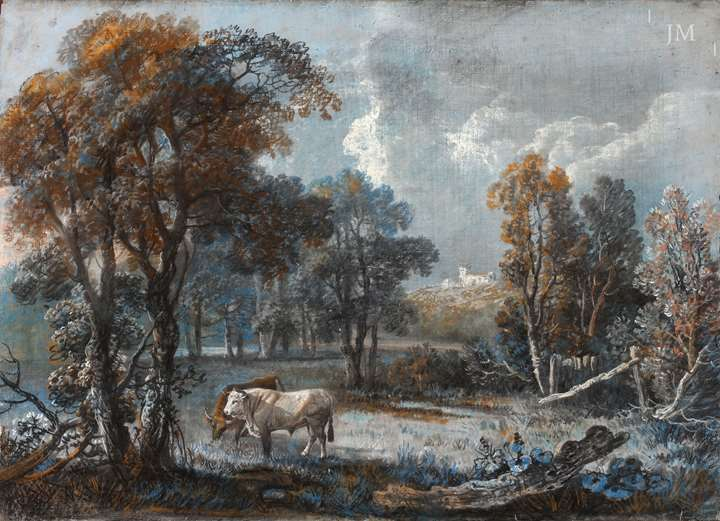 Cattle in a wooded landscape, with a church on a hill beyond