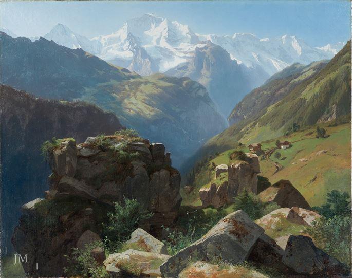Alexandre Calame - The Jungfrau Massif and Lauterbrunnen Valley, Bernese Oberland, Switzerland | MasterArt