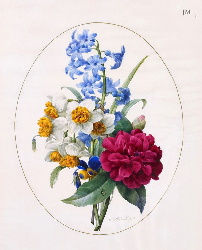 Pierre-Joseph Redouté - A Sprig of Spring Flowers – hyacinth, narcissi, camellias and a pansy     | MasterArt