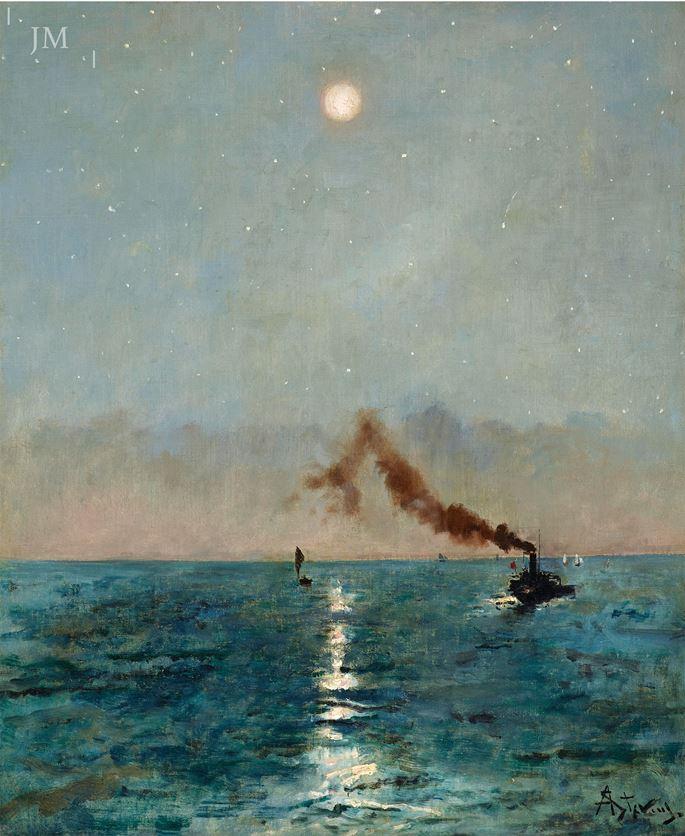 Alfred Stevens  - Vapeur au clair de lune | MasterArt