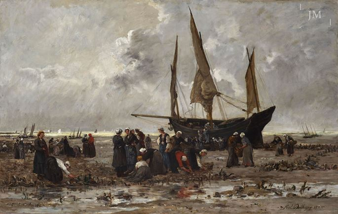 Karl Daubigny - Loading a 'lougre' at low tide | MasterArt