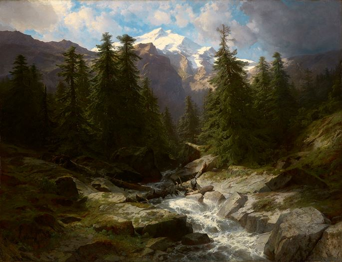 Alexandre Calame - A mountain torrent below the Doldenhorn, Bernese Oberland, Switzerland | MasterArt
