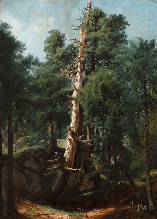 Alexandre Calame - Fir trees in a forest interior | MasterArt