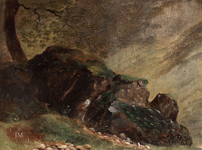 Alexandre Calame - Study of rocks and trees near Sixt | MasterArt