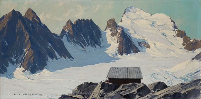 Charles-Henri Contencin - The Refuge Caron (or Ecrins) above the Glacier Blanc, Dauphiné Alps, France | MasterArt