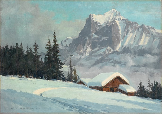 Charles-Henri Contencin - The Wetterhorn in winter seen from Bort, Grindelwald, Switzerland.  | MasterArt