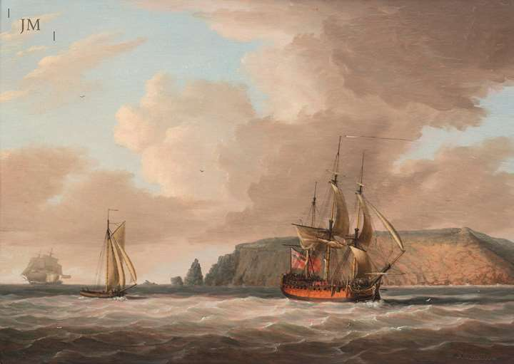 British Shipping off a Rocky Coastline