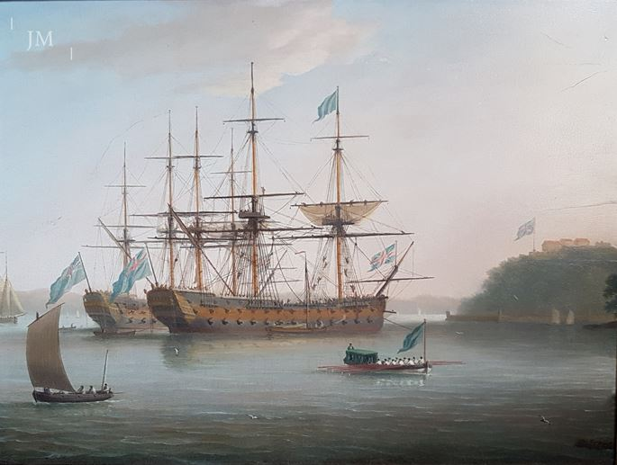 Dominic Serres - Two First-Rates at anchor, with the foreground ship and barge flying the flag of the Vice-Admiral of the Blue | MasterArt