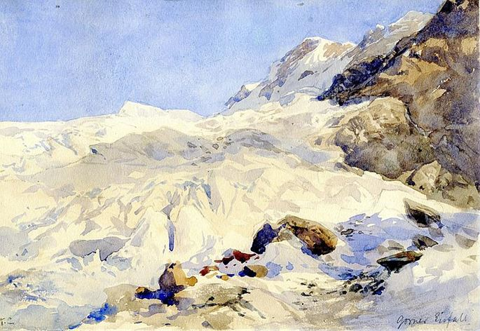 Edward Theodore Compton - Crevasses on the Gorner Glacier, Zermatt, Switzerland. | MasterArt
