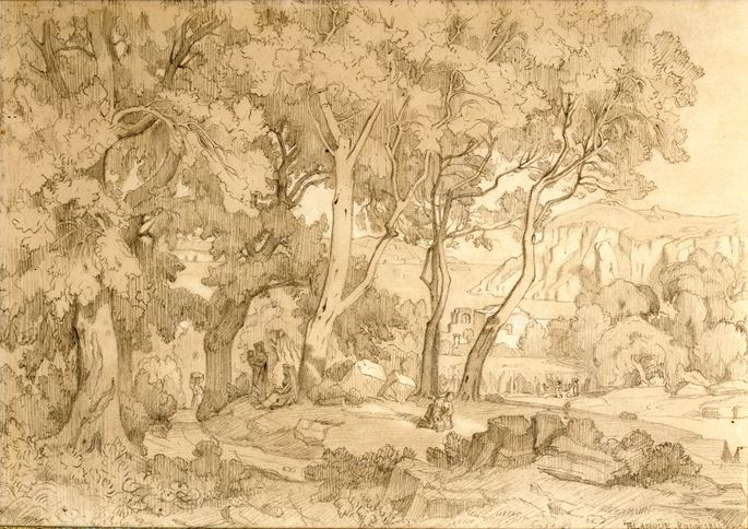 Felix-Hippolyte Lanoüe - Figures in a wooded glade | MasterArt