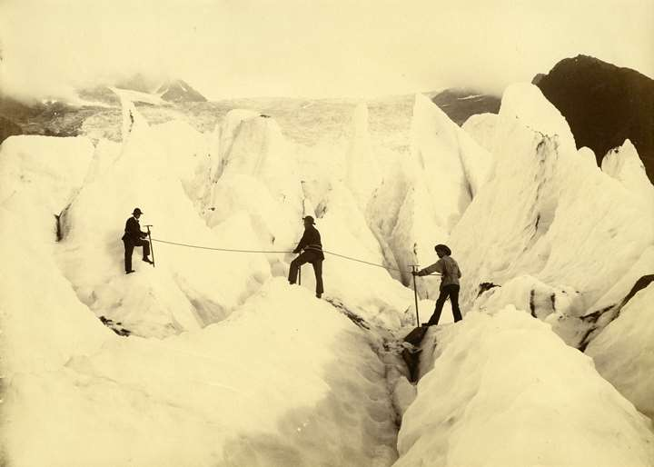 Climbers on the Glacier de Bossons, Chamonix