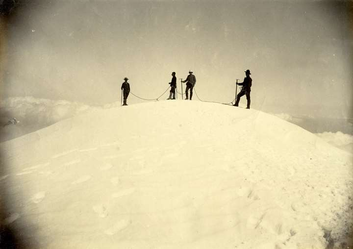 Climbers on the Summit of Mont Blanc