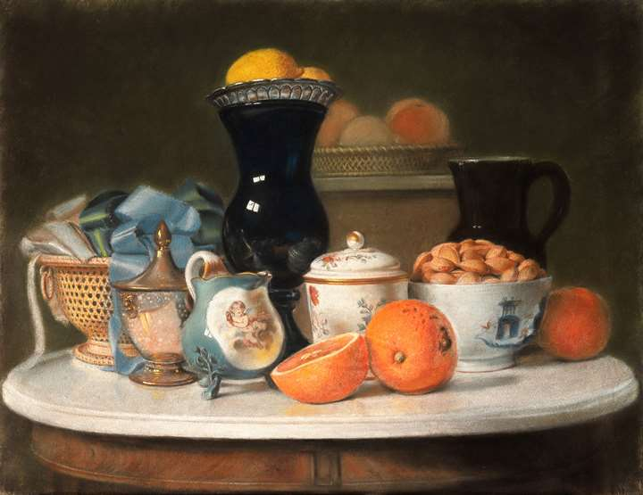 A Still Life of Porcelain and Fruit on a Marble-Top Table