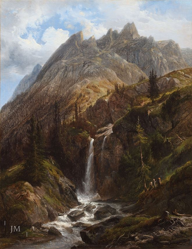 François Diday - Waterfall at Rosenlaui with the Engelhörner behind, Bernese Oberland | MasterArt