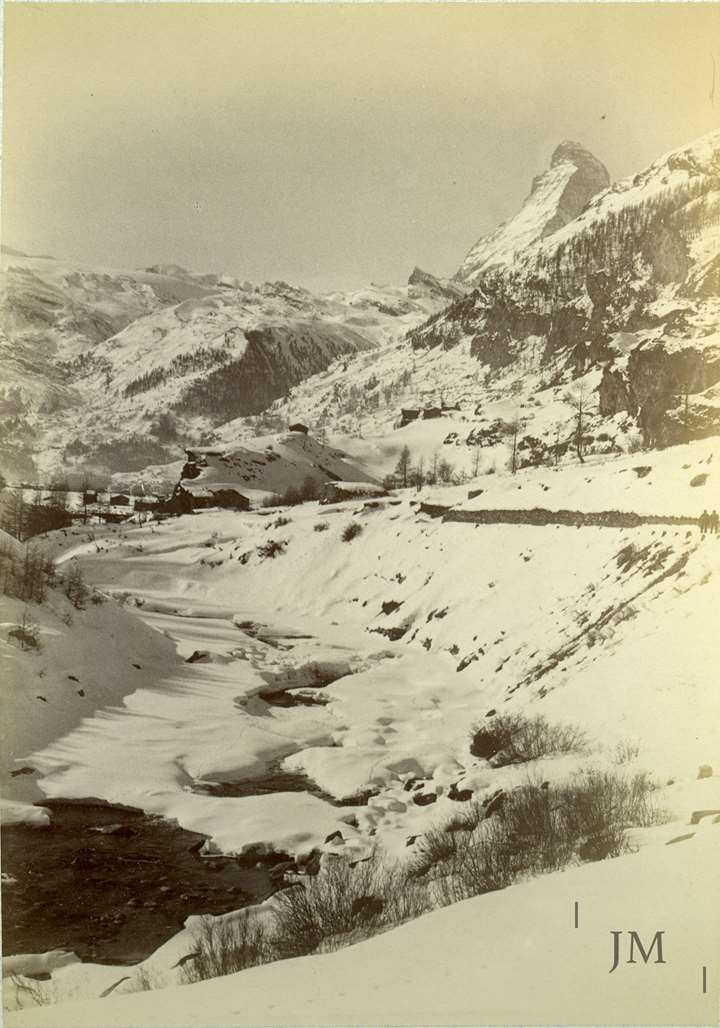 Zermatt riverbed winter with Matterhorn
