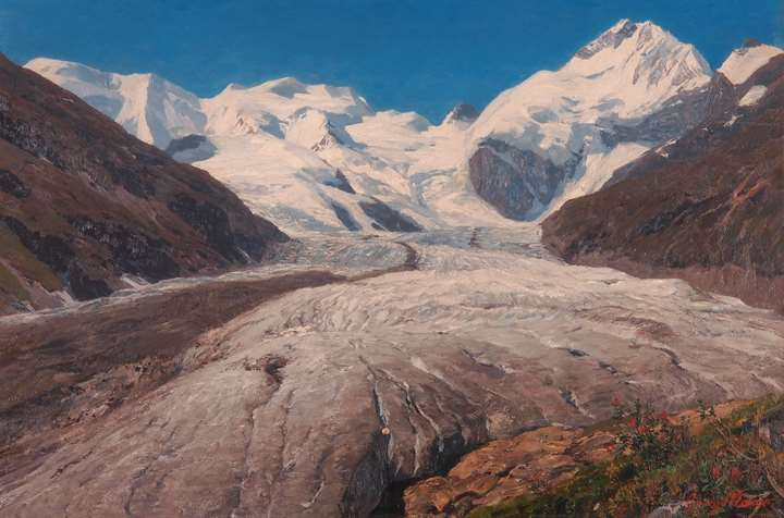 The Morteratschglacier and Piz Bernina near St. Moritz, the Engadine