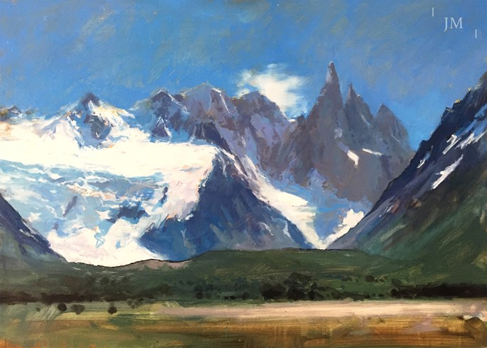 James Hart Dyke - Cerro Torre beyond green and pink | MasterArt