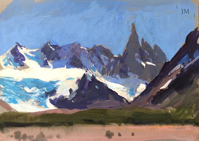 James Hart Dyke - Cerro Torre beyond green and pink, study 2018 | MasterArt