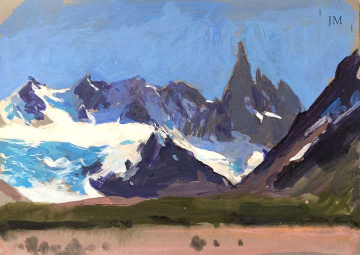 Cerro Torre beyond green and pink, study 2018