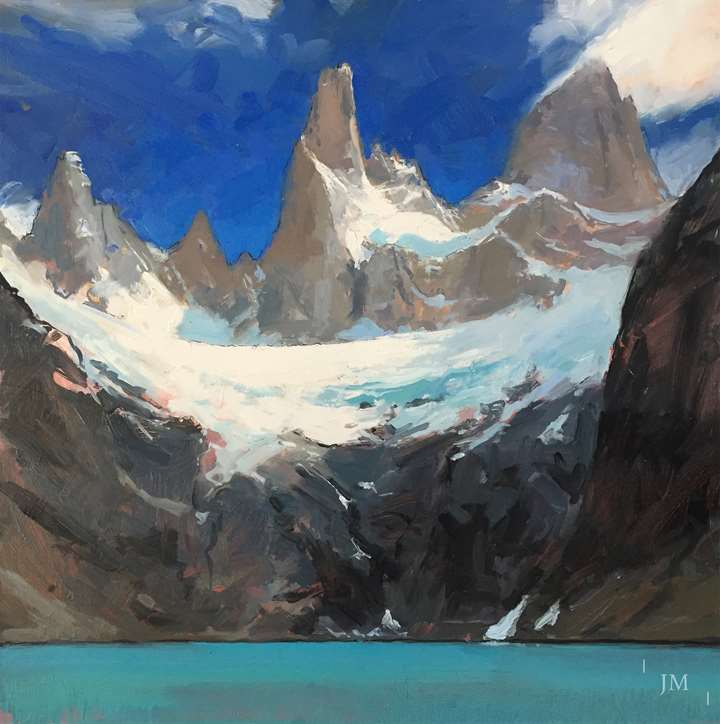 Fitz Roy and Laguna Sucia, sunlight on glacier