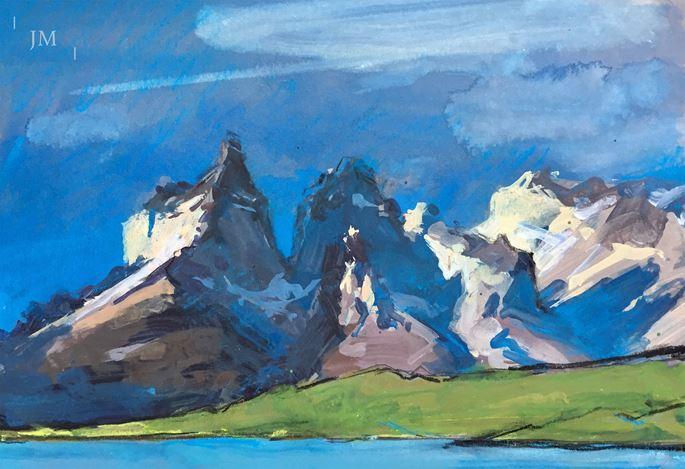 James Hart Dyke - Los Cuernos del Paine, last light study 2018 | MasterArt