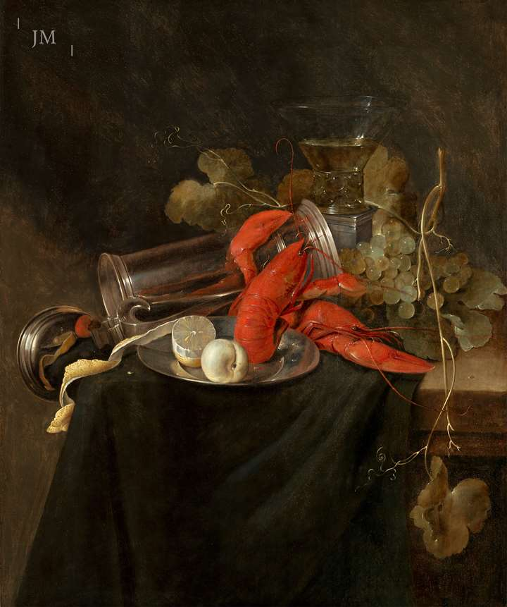 A still life with lobster, roemer, pewter tankard and a lemon