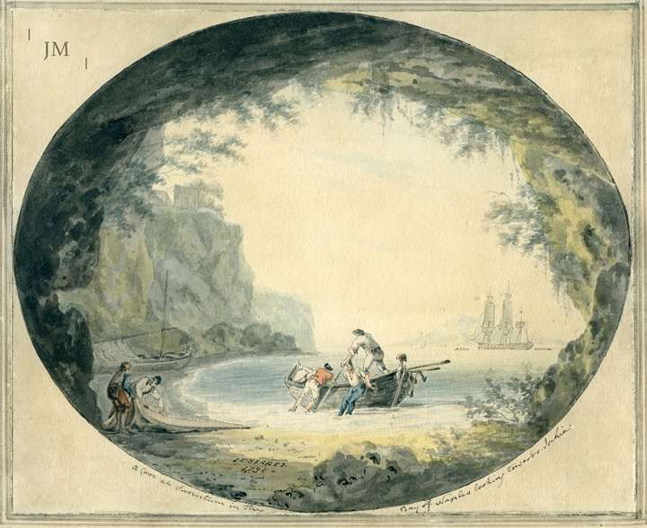 Views in the Bay of Naples - a pair (2) : A cave at Sorrentum in the Bay of Naples looking towards Ischia, 1794
