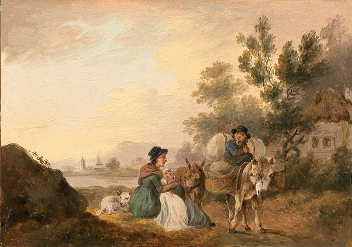 A Pair of Rural Landscapes with Travellers and a Milkmaid - one of a pair