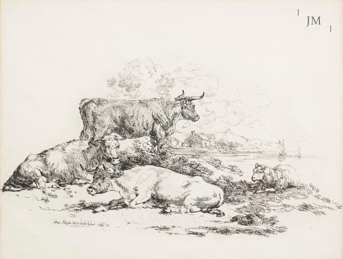 Julius Caesar Ibbetson - Cattle grazing by Rydal Water, Lake District | MasterArt