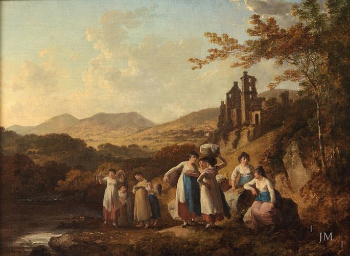 Julius Caesar Ibbetson - View of Roslin Castle with Washerwomen by the River North Esk, Midlothian | MasterArt