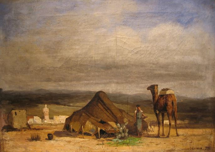 Numa Marzocchi de Belluci - Algerian landscape with figure and camel by an encampment | MasterArt