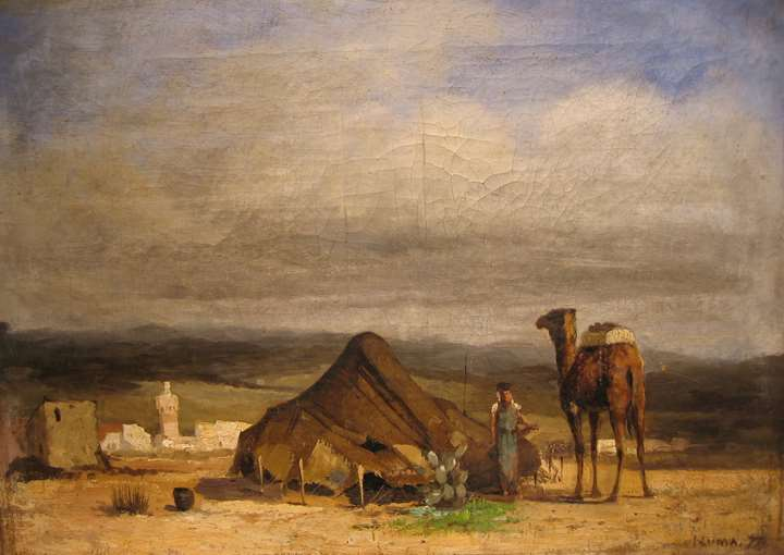 Algerian landscape with figure and camel by an encampment