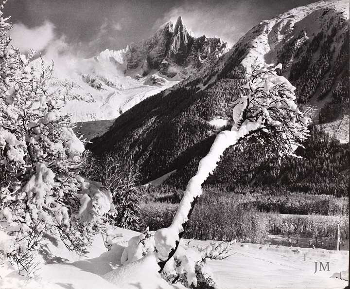 Winter in Le Praz with the Aiguille de Dru, Chamonix, France.