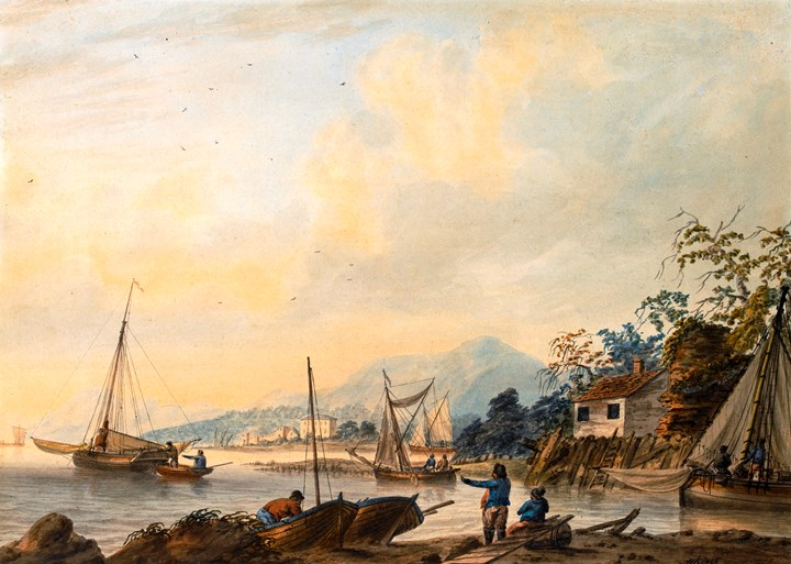Estuary scene with figures and boats