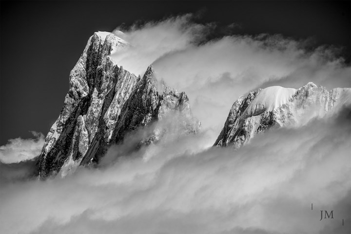 The Grandes Jorasses shrouded in fog, Chamonix