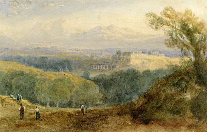 A classical landscape with a capriccio view of the Acropolis