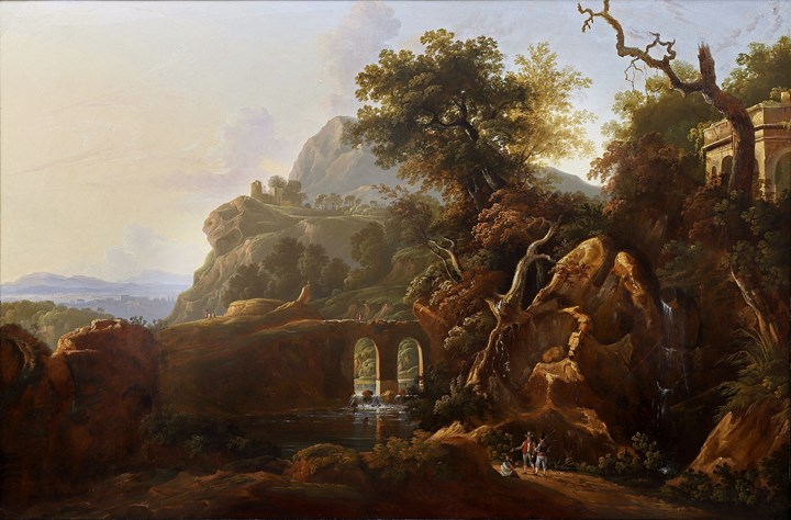 A capriccio landscape with travellers below a rocky outcrop